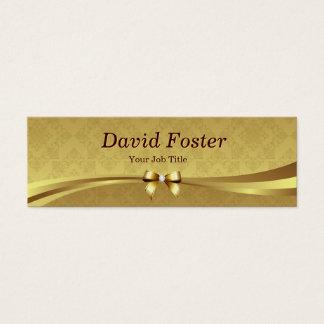 Elegant Gold Damask with Shiny Diamond Ribbon Bow Mini Business Card