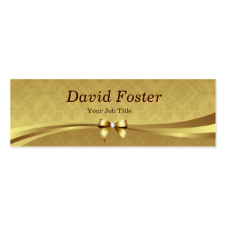 Elegant Gold Damask with Shiny Diamond Ribbon Bow Pack Of Skinny Business Cards