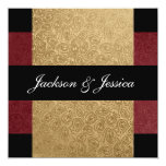 "Elegant Gold Dark Red Paisley Engagement Party 5.25"" Square Invitation Card"