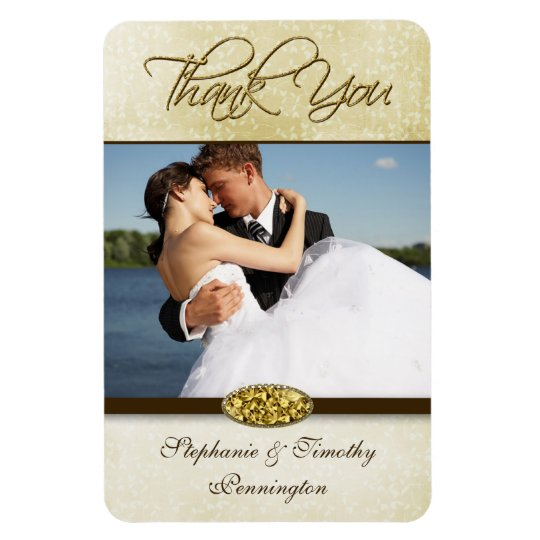 Elegant gold diamond wedding thank you magnet