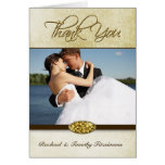 Elegant gold diamond wedding thank you photocard