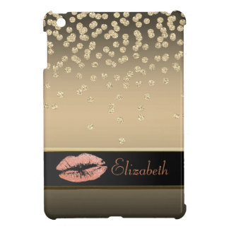 Elegant Gold Diamonds -Glittery Lip-Personalized iPad Mini Cases
