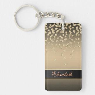 Elegant Gold Diamonds -Glittery Lip-Personalized Key Ring