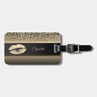 Elegant Gold Diamonds-Glittery Lip-Personalized Luggage Tag
