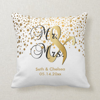 Elegant Gold Dots | Wedding | Personalize Throw Pillow
