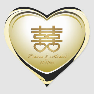 Elegant Gold Double Happiness Heart Heart Sticker