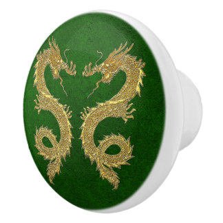 Elegant Gold Dragons on Green Foil Pattern Ceramic Knob