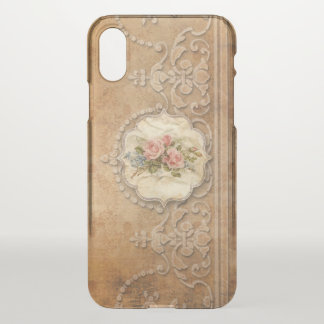 Elegant Gold Embossed Style Filigree and Roses iPhone X Case