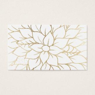 Elegant gold faux foil chic flourish pattern business card