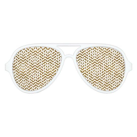 Elegant gold faux glitter chevron pattern aviator sunglasses