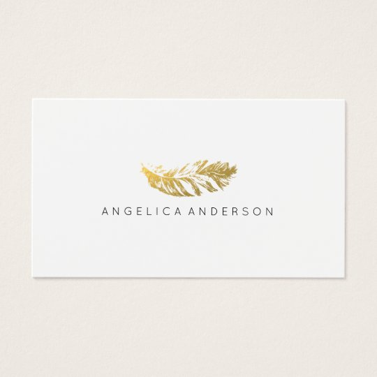 Elegant Gold Feather Business Card