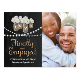 ELEGANT GOLD FINALLY GOT ENGAGED PHOTO INVITATION POSTCARD