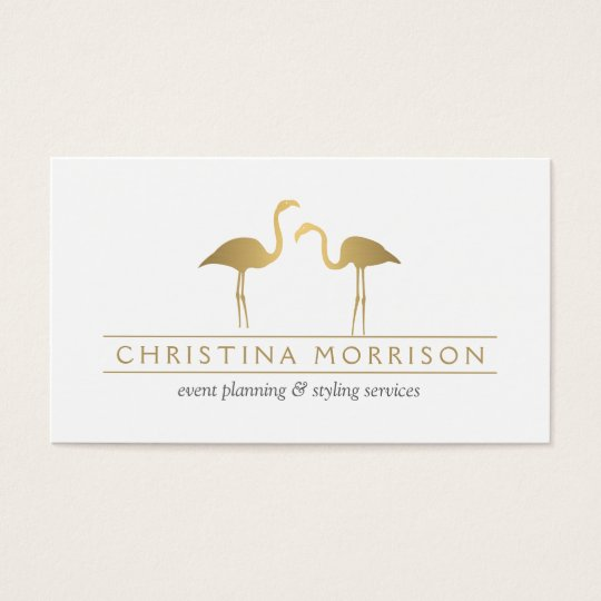 Elegant Gold Flamingos Event Planner White Business Card
