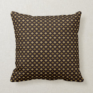 Elegant Gold Fleur De Lis Pattern Black Cushion