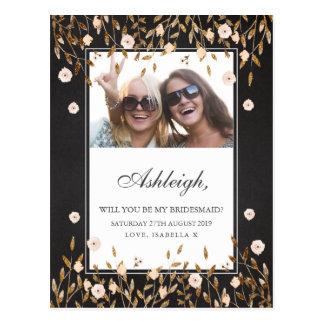 Elegant Gold Floral Chalkboard Photo Bridesmaid Postcard