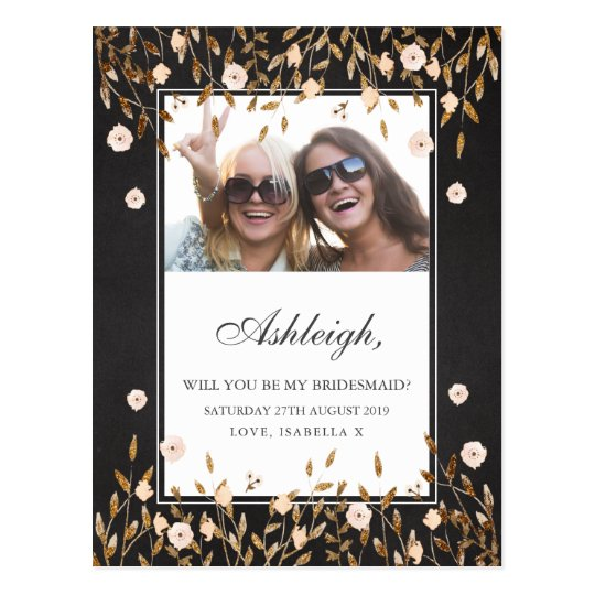 Elegant Gold Floral Chalkboard Photo Bridesmaid Postcard