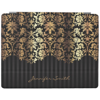 Elegant Gold Floral Damask and Black Design iPad Cover