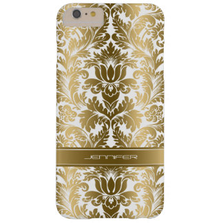 Elegant Gold Floral Damasks 2 White Background Barely There iPhone 6 Plus Case