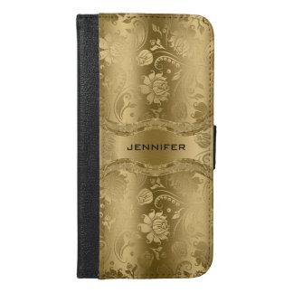 Elegant Gold Floral Damasks Background iPhone 6/6s Plus Wallet Case