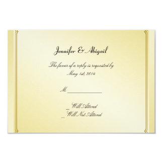 Elegant Gold Floral Gay Wedding Response Card
