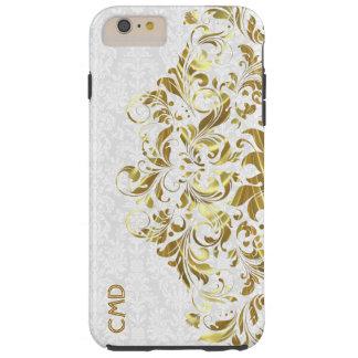 Elegant Gold Floral Lace White Damasks Tough iPhone 6 Plus Case