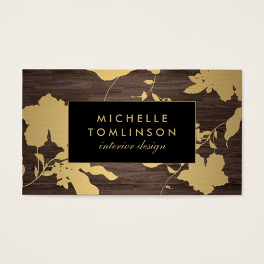 Elegant Gold Floral Pattern Dark Wood Designer Business