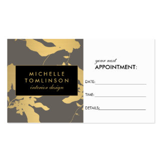 Elegant Gold Floral Pattern Gray Appointment Card Pack Of Standard Business Cards