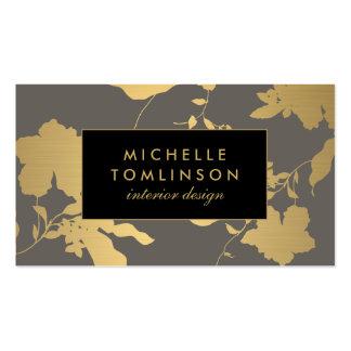 Elegant Gold Floral Pattern Gray Designer Pack Of Standard Business Cards