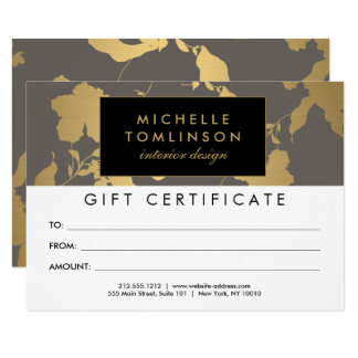 Elegant Gold Floral Pattern Gray Gift Certificate 11 Cm X 16 Cm Invitation Card
