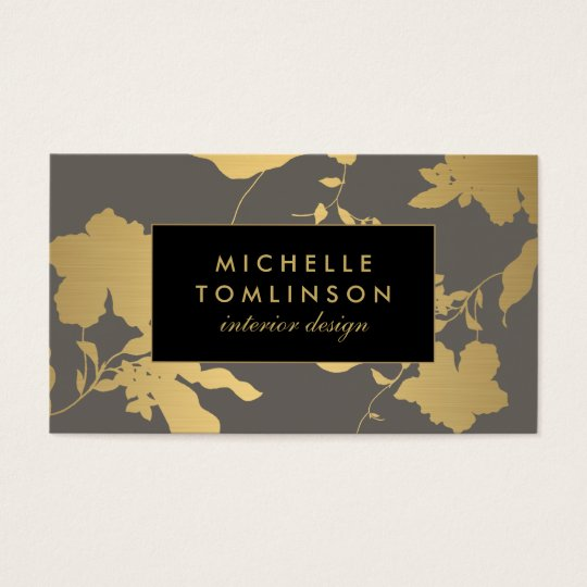 Elegant Gold Floral Pattern Grey Designer Business Card