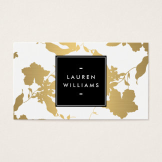 Elegant Gold Floral Pattern on White II Business Card