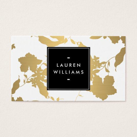 Elegant Gold Floral Pattern on White II Business