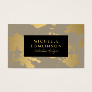 Elegant Gold Floral Pattern Taupe Designer Business Card