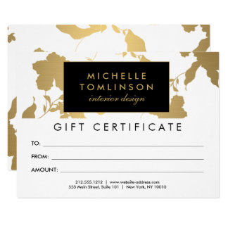 Elegant Gold Floral Pattern White Gift Certificate 11 Cm X 16 Cm Invitation Card