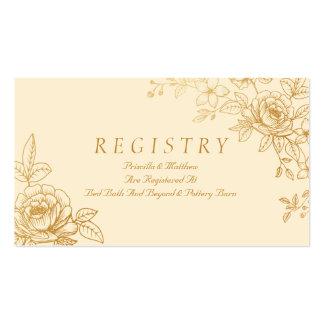 Elegant Gold Floral Wedding Registry Card Pack Of Standard Business Cards