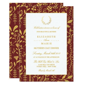 Elegant Gold Floral Wreath Mother's Day Dinner Card