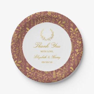 Elegant Gold Floral Wreath Wedding 7 Inch Paper Plate