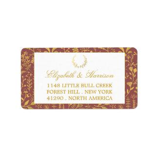 Elegant Gold Floral Wreath Wedding Address Label