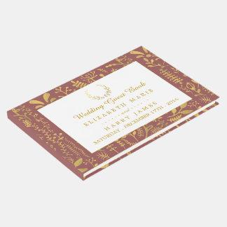 Elegant Gold Floral Wreath Wedding Guest Book