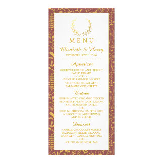 Elegant Gold Floral Wreath Wedding Menu
