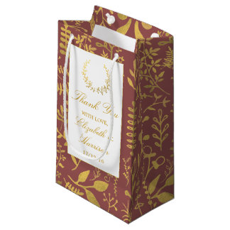 Elegant Gold Floral Wreath Wedding Small Gift Bag