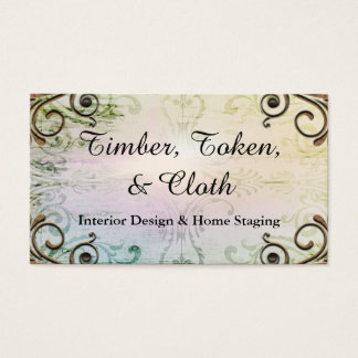 Elegant Gold Flourish Rainbow Interior Designer Business Card