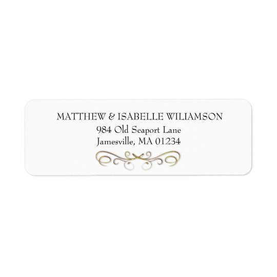 Elegant Gold Flourish Return Address Label