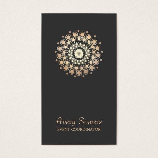 Elegant Gold Flower Motif Event Planner Black Business
