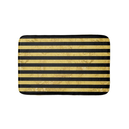 Elegant Gold Foil and Black Stripe Pattern Bath