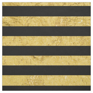 Elegant Gold Foil and Black Stripe Pattern Fabric