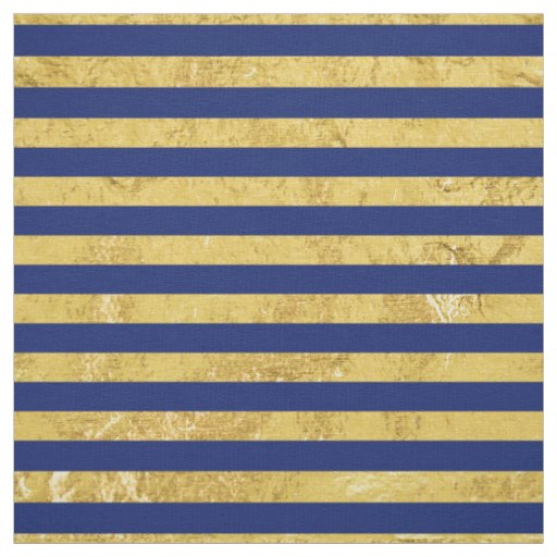 Elegant Gold Foil and Blue Stripe Pattern Fabric