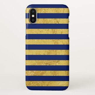 Elegant Gold Foil and Blue Stripe Pattern iPhone X Case