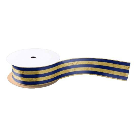 Elegant Gold Foil and Blue Stripe Pattern Satin