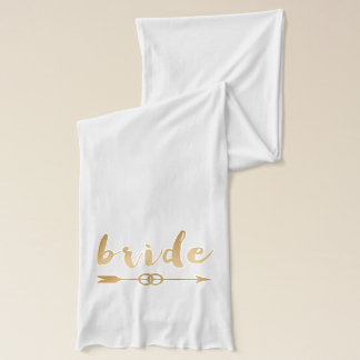 elegant gold foil bride text arrow wedding rings scarf
